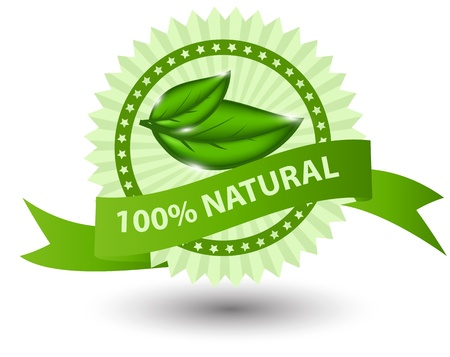 100% natural green label isolated on white