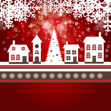 Abstract beauty Christmas and New Year background with little town