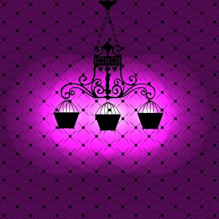 Illustration for Vintage background with chandelier illustration - Royalty Free Image