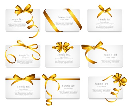Illustration pour Card with Gold Ribbon and Bow Set. - image libre de droit