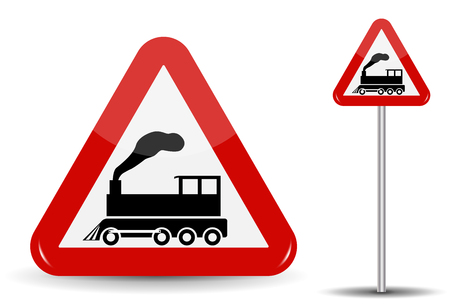 Road sign Warning Railway crossing without barrier. In Red Triangle is a schematic depiction of a steam locomotive in motion with smoke. Vector Illustration.
