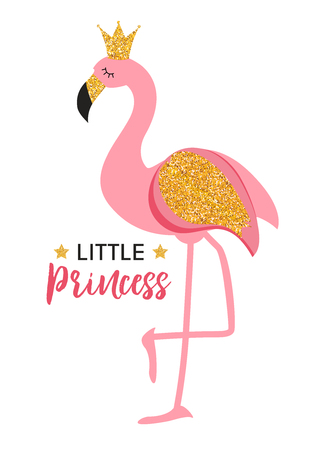 Ilustración de Cute Little Princess Abstract  Background with Pink Flamingo Vector Illustration - Imagen libre de derechos