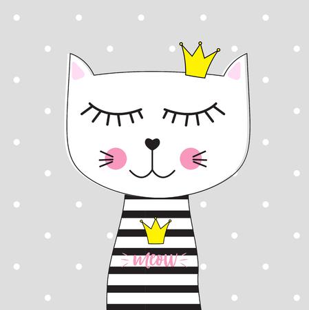 Illustration pour Little Cute Cat Princess Vector Illustration EPS10 - image libre de droit