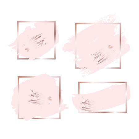 Ilustración de Brush strokes in rose gold pink tones and golden frame background. Vector Illustration - Imagen libre de derechos