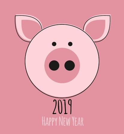 Happy New Year 2019 cute card design with cartoon pig. Vector Illustration