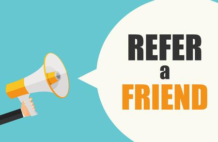 Illustration pour Refer a Friend Poster with Megaphone and Hand. Vector Illustration - image libre de droit