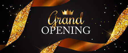 Illustration pour Grand Opening Card with Golden Ribbon Background. Vector Illustration - image libre de droit