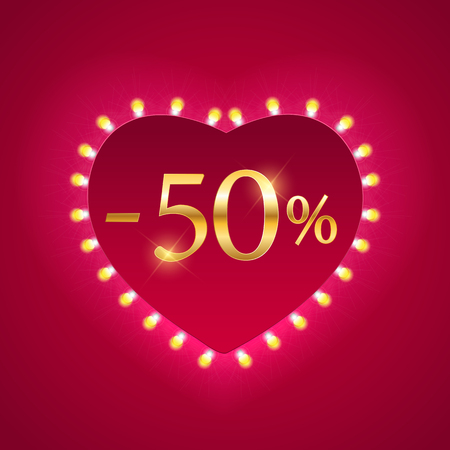 Illustration for Valentines Day Holiday Discount banner Sale poster. Vector Illustration EPS10 - Royalty Free Image