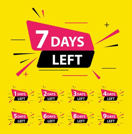 Illustration pour Offer sale business sign with Days left collection set. Vector illustration EPS10 - image libre de droit