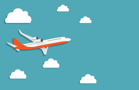 Illustration for Flying airplane express delivery shipping  concept. - Royalty Free Image