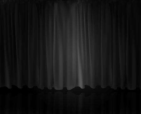 Illustration for Realistic Spotlight on stage curtain. Option curtain at home in the cinema. Vector Illustration. - Royalty Free Image