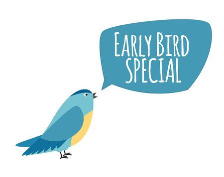 Illustration pour Bird with Speech Bubble. Early Bird Special Offer Promotion Concept. Vector Illustration - image libre de droit