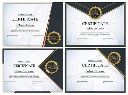 Illustration pour Certificate template Background Collection Set. Award diploma design blank. Vector Illustration EPS10 - image libre de droit