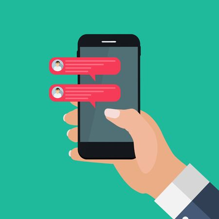 Illustration pour Chat message bubbles on smartphone screen, social networ concept. Vector illustration. EPS10 - image libre de droit