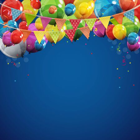 Illustration for Color Glossy Happy Birthday Balloons Banner Background Vector Illustration EPS10 - Royalty Free Image