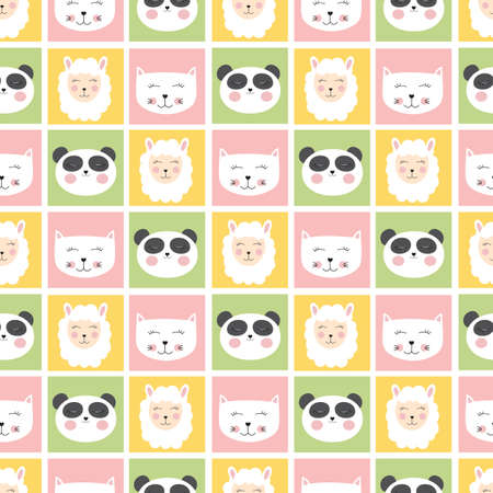 Illustration for Cute seamless pattern with animals panda, cat and sheep for kids, child background. Vector illustration - Royalty Free Image