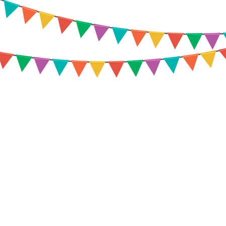 Illustration for Triangle party flag garland isolated on white background. Vector Illustration EPS10 - Royalty Free Image