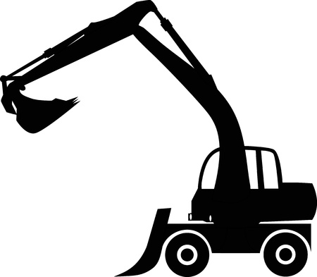 Illustration for Silhouette big excavator, illustration - Royalty Free Image
