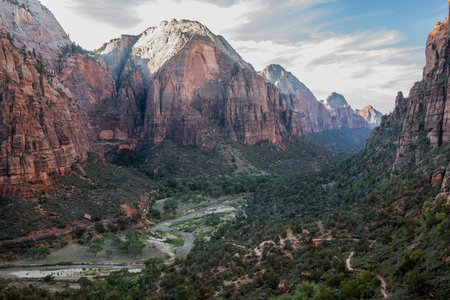Zion Main Canyon from Angels Landing Trail, Zion National Park, Utah, USA. Angels Landing is one of the defacto classic hikes in Zion and one of the most stunning viewpoints you will ever experience, but it's not recommended for anybody with a fear of hei