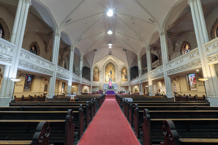 San Francisco, California - December 1, 2018: Interior of Old St Mary's Cathedral. The Old Cathedral of St. Mary of the Immaculate Conception is a proto-cathedral and parish of the Roman Catholic Church located at 660 California Street at the corner of Gr