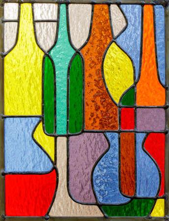 Foto de Retro Bottles and Vases Colorful Stained Glass Window Panel - Imagen libre de derechos