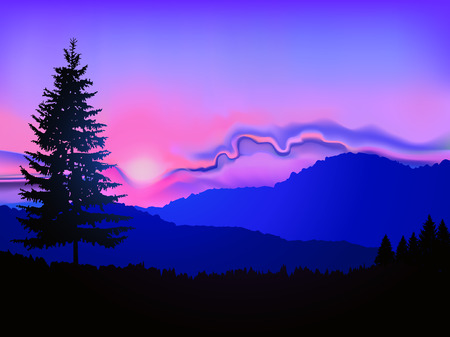 Illustration pour Silhouette of coniferous trees on the background of mountains and abstract sky. Pink and blue tones. Sunset. North american landscape. - image libre de droit