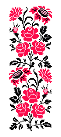 Foto de Bouquet of flowers (roses, cloves and sunflowers) using traditional Ukrainian embroidery elements. Pink tones. Border pattern. Can be used as pixel-art. - Imagen libre de derechos