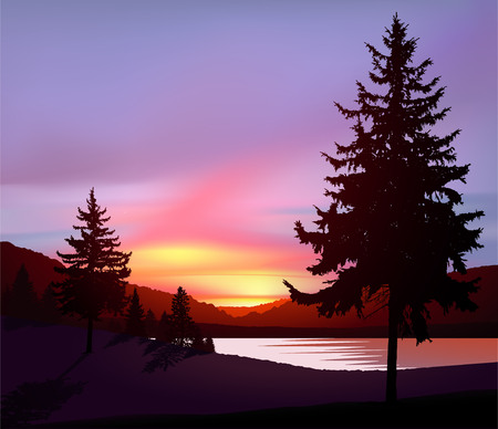 Illustration pour Northern lights in wild terrain with lake (river) and pine forest. - image libre de droit