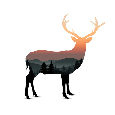 Illustration pour Silhouette of deer with panorama of mountains. Sunset. Mist. - image libre de droit