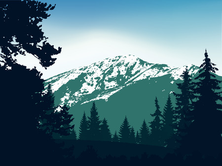 Illustration pour Panorama of mountains. Silhouette of mountains with snow and coniferous trees on the background of colorful sky. Green and blue tones. Can be used as banner of mineral water. - image libre de droit