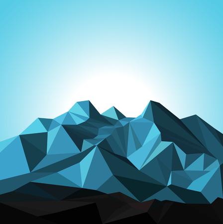 Illustration pour Snow mountains peak banner. Polygonal art. Blue tones of mountains. Blue sky. - image libre de droit