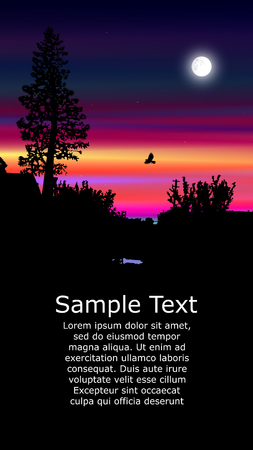 Illustration pour Colorful background for flyer or website design. Neon lights. Moonlight. Violet, blue, yellow, pink and black tones. - image libre de droit