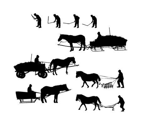 Illustration pour Set of working farmers. - image libre de droit