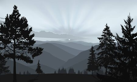 Illustration pour Nature background of mountains panorama. Evening in wild valley. - image libre de droit