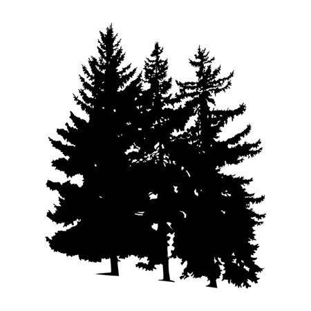 Illustration pour Silhouette of pine trees. Hand made. - image libre de droit