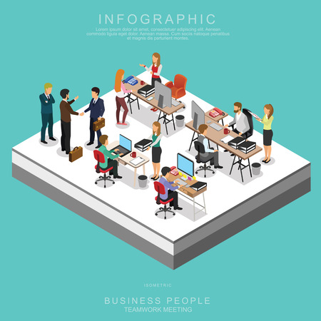 Ilustración de ISOMETRIC BUSINESS PEOPLE TEAMWORK MEETING in office, share idea,  infographic vector design - Imagen libre de derechos