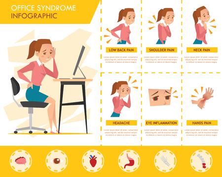 Illustration pour girl office syndrome infographic - image libre de droit