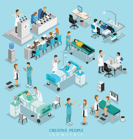 Illustration pour isometric people character on hospital include doctor, nurse, man and woman - image libre de droit