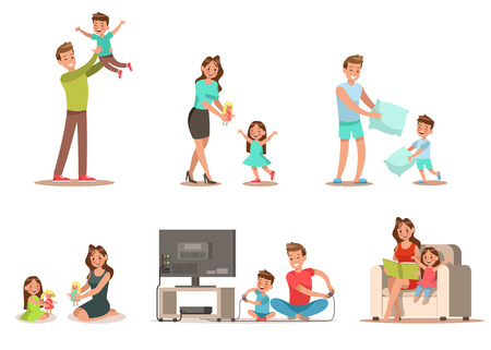 Illustration pour Family activity in home Includes playing game, playing doll, reading a book. Character design. - image libre de droit