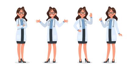 Illustration pour Set of Doctor character design. no11 - image libre de droit