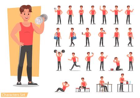 Ilustración de Health men are exercising character design set. Vector design. - Imagen libre de derechos