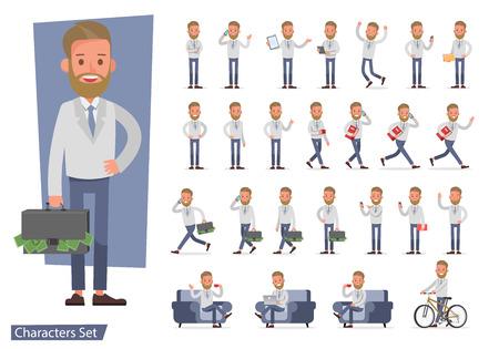 Illustration pour Set of Businessman character vector design. no81 - image libre de droit