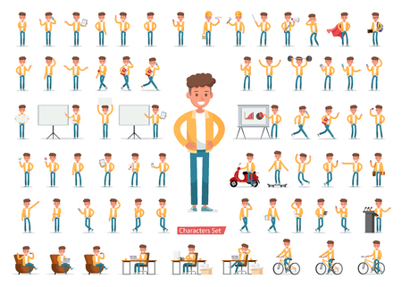 Illustration pour Set of men character vector design. Presentation in various action with emotions, running, standing, walking and working. no5 - image libre de droit