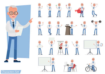 Illustration pour Set of Businessman character vector design doing different gestures. Presentation in various action with emotions, running, standing, walking and working. no8 - image libre de droit