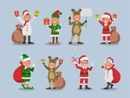 Illustration for Set of kids boy and girl wearing Christmas costumes character vector design. Presentation in various action with emotions. no28 - Royalty Free Image