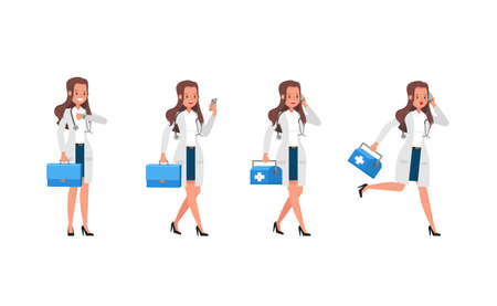 Illustration pour Woman doctor vector character design. Presentation in various action. no3 - image libre de droit