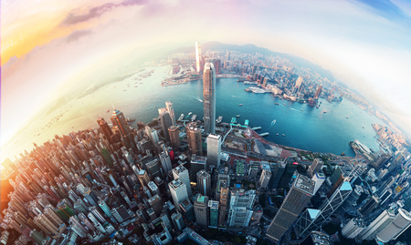 Photo for Hong Kong financial district view from sky - Royalty Free Image