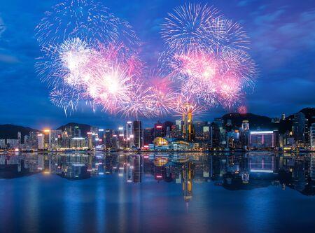 Foto de Firework Show effect on Hong Kong Victoria Harbor - Imagen libre de derechos