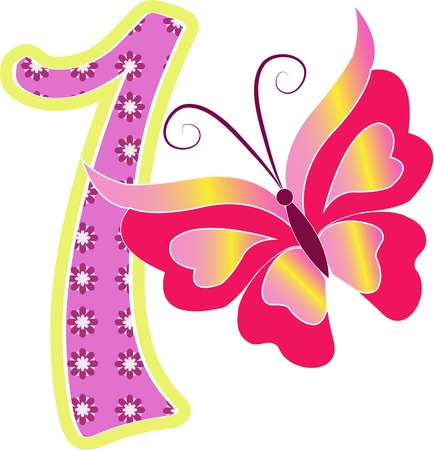 Beautiful multi-colored number one with the butterfly on a white background