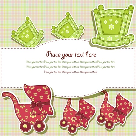 Photo pour Set for the baby on a checkered background - image libre de droit
